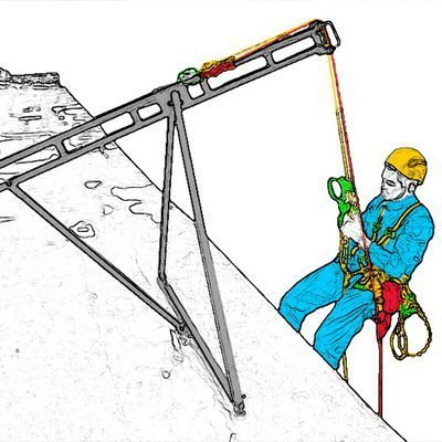 Консольное анкерное устройство «Василёк» — позволяет производить безопасный свес рабочих и страховочных верёвок с крыши зданий или других монтажных плоскостей для удобства работы высотным монтажникам и промышленным альпинистам на вертикалях.